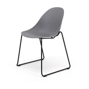 Zestaw 2 szarych krzeseł z czarną kontrukcją Le Bonom Viva