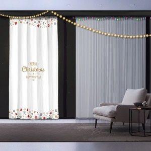 Świąteczna zasłona White Christmas, 140x260 cm