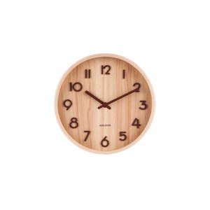 Jasnobrązowy zegar ścienny z drewna lipy Karlsson Pure Small