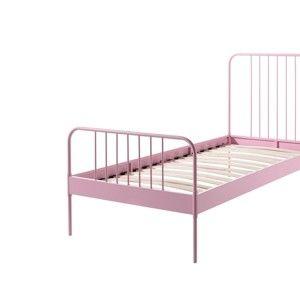 Różowe metalowe łóżko dziecięce Vipack Jack, 90x200 cm