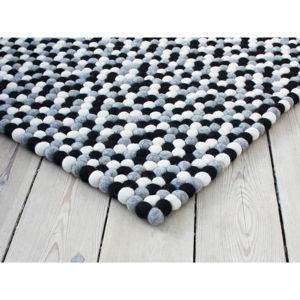 Czarno-biały wełniany dywan kulkowy Wooldot Ball Rugs, 120x180 cm