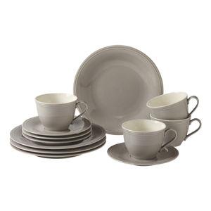 12-częściowy szary porcelanowy serwis kawowy Like by Villeroy & Boch Group