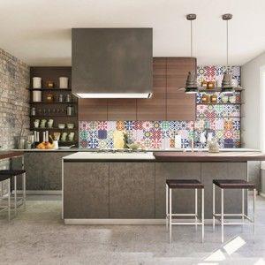 Zestaw 30 naklejek ściennych Ambiance Wall Stickers Cement Tiles Azulejos Vinito, 15x15 cm