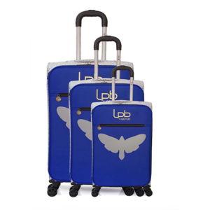 Zestaw 3 niebieskich walizek fakturowanych z 4 kółkami LPB Clara