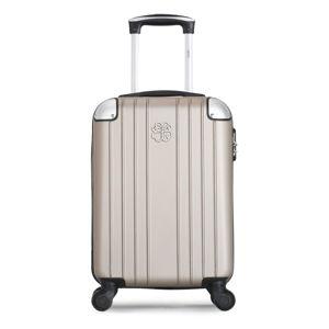 Beżowa walizka fakturowana z 4 kółkami LPB Amelie, 31 l