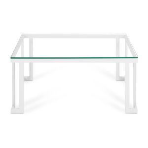 Szklany stół ogrodowy w białej ramie Calme Jardin Cannes, 60x90 cm