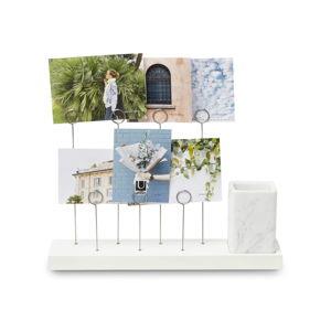 Biały stojak na 7 zdjęć i akcesoria biurowe Umbra Rustic