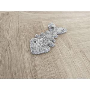 Szara wełniana zabawka dla kotów w kształcie rybich ości Wooldot Cat Fish Bone, dł. 12 cm