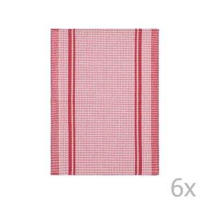 Komplet 6 czerwonych bawełnianych ścierek Tiseco Home Studio Waffle, 50x70 cm