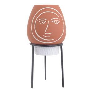 Doniczka ceramiczna ze stojakiem w kolorze ceglanej czerwieni InArt Face, ø 12 cm