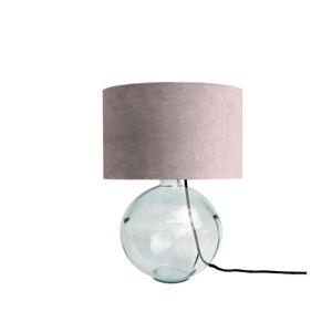 Różowa lampa stołowa z ręcznie dmuchanego szkła z aksamitnym kloszem Velvet Atelier
