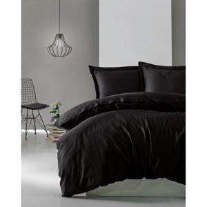 Czarna pościel z satyny bawełnianej Cotton Box Elegant, 200x200 cm