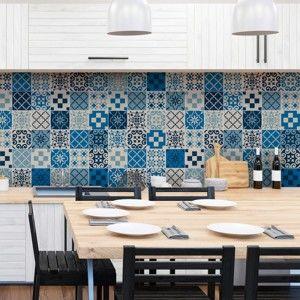Zestaw 60 naklejek ściennych Ambiance Wall Decal Cement Tiles Azulejos Caralinera, 15x15 cm