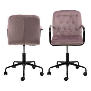 Różowe krzesło biurowe z aksamitną powierzchnią Actona Wendy