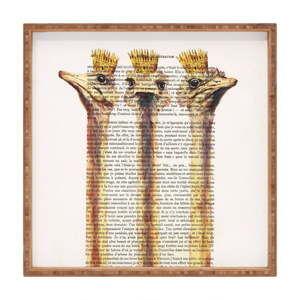 Drewniana taca dekoracyjna Ostriches, 40x40 cm