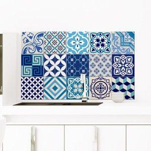 Zestaw 15 naklejek dekoracyjnych Ambiance Azur, 10x10 cm