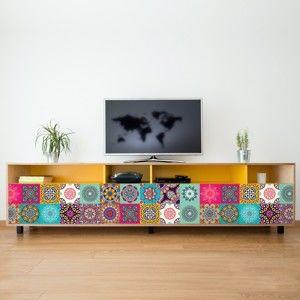 Zestaw 24 naklejek Ambiance Coralina, 15x15 cm
