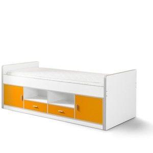Biało-pomarańczowe dziecięce łóżko ze schowkiem Vipack Bonny, 200x90 cm