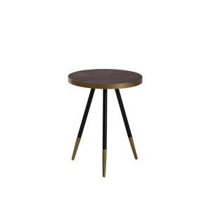 Ciemnoszary stolik z nogami w złotym kolorze Monobeli Hannah, ø 44 cm