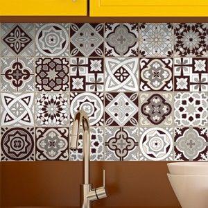 Zestaw 24 naklejek ściennych Ambiance Wall Stickers Tiles Amazonas, 15x15 cm