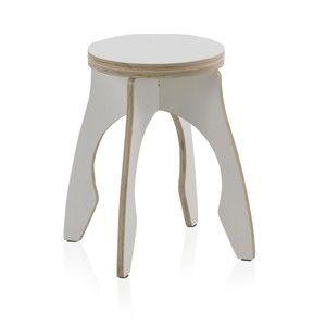Biały stołek dziecięcy ze sklejki Geese, ⌀ 41 cm