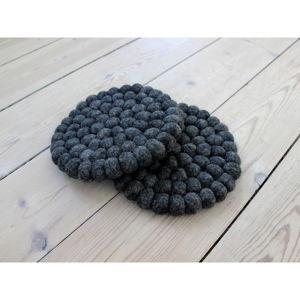 Antracytowa kulkowa podkładka z wełny Wooldot Ball Coaster, ⌀ 20 cm