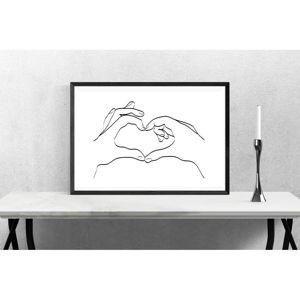 Plakat Blue-Shaker Line Drawing Love Hand Sign, 30x40 cm