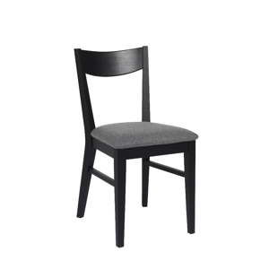 Czarne dębowe krzesło do jadalni z pluszowym siedziskiem Folke Dylan